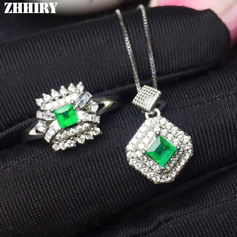 Natural Emerald Jewelry Sets Genuine Solid 925 Sterling Silver For Women Gemstone Ring Necklace Earring ZHHIRY