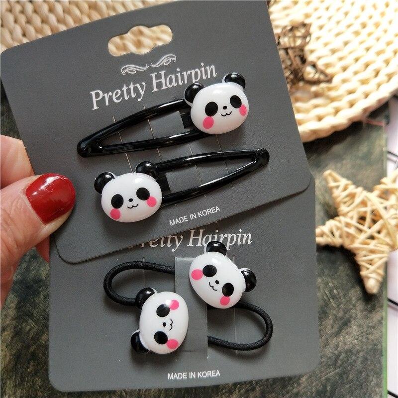 2PCS Cute New Cartoon Panda BB Clips Kids Hairpins Baby Clips Headdress Elastic Hair Bands Girls Accessories Children Headwear