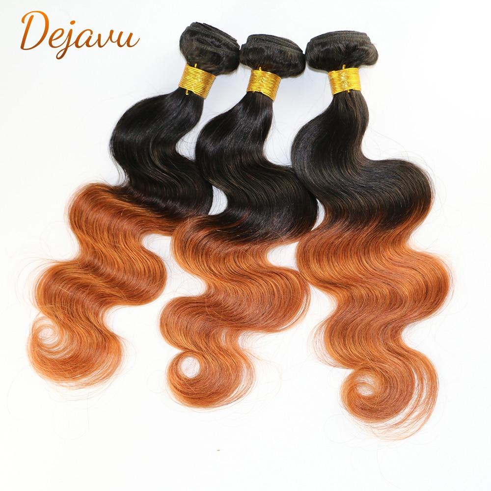 Dejavu 1B/30 Blonde Ombre Human Hair Bundles Brazilian Hair Wavy Weave Bundles Colored Ombre Body Wa