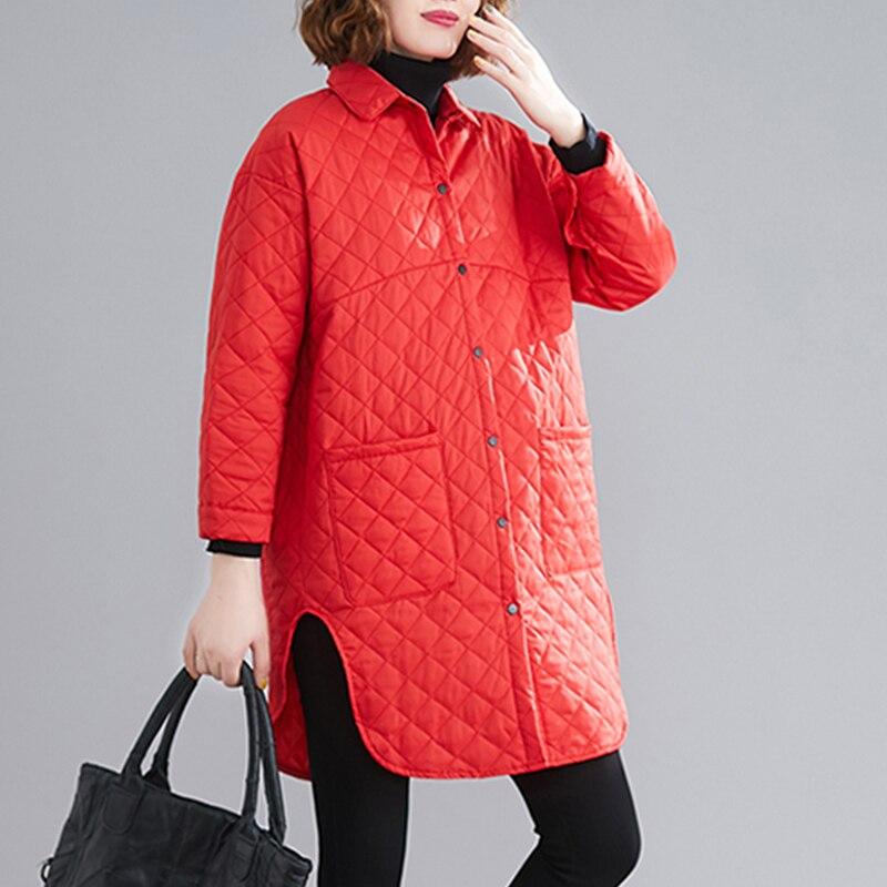 Женская Стеганая куртка в клетку, хлопковая парка оверсайз средней длины с асимметричным подолом и большими карманами, повседневные куртки...