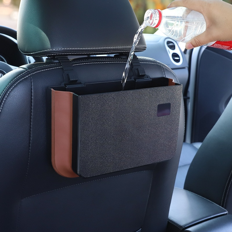 ZK30 Car Organizer Backseat Storage Bag Auto Pocket Holder Car Accessories Car Trash Bin Garbage Can