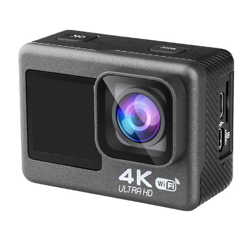 AT-Q60ER عمل كاميرا 4K 60FPS 24MP 2.0 بوصة LCD كاميرا مقاومة للماء شاشة مزدوجة واي فاي التحكم عن بعد مكافحة هزة الكاميرا