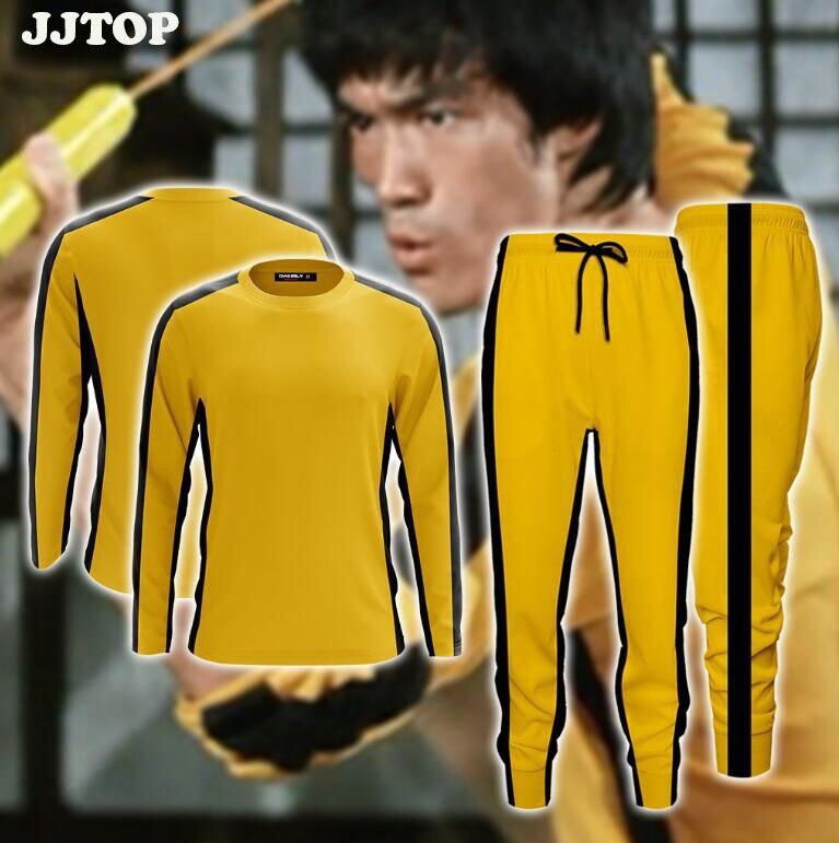 Camiseta de talla grande para hombre amarillo de Bruce Lee, juego de la muerte, camiseta de manga larga, pantalones Kung Fu Master, camiseta de dragón, camisa china de Kung-fu