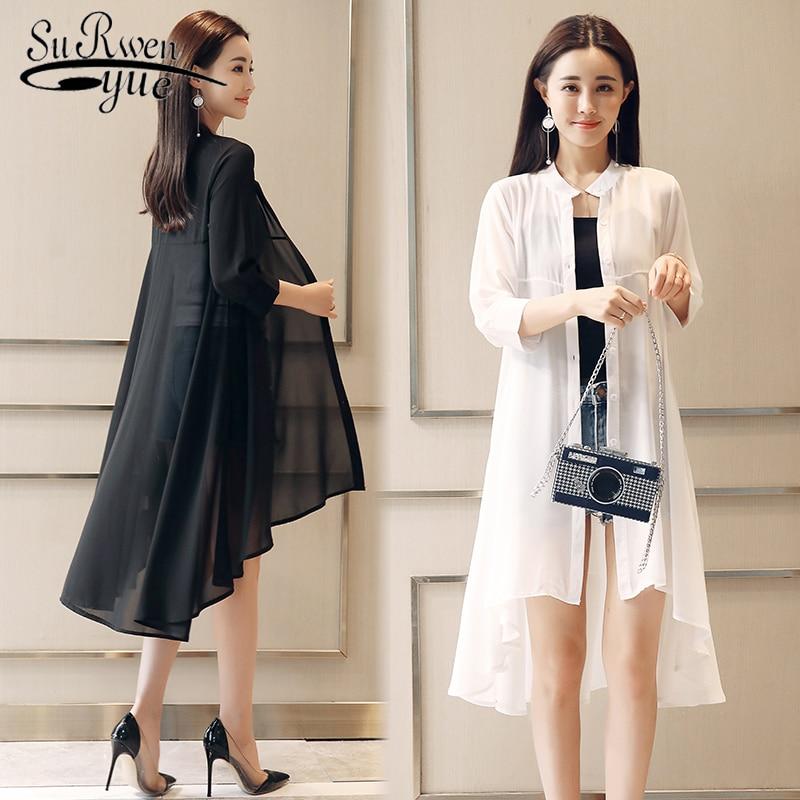 Blusa de gasa de verano para mujer, blusas y Tops holgados de talla grande, cárdigan tipo Kimono de gasa con cuello levantado, camisas elegantes bohemias para mujer 4534