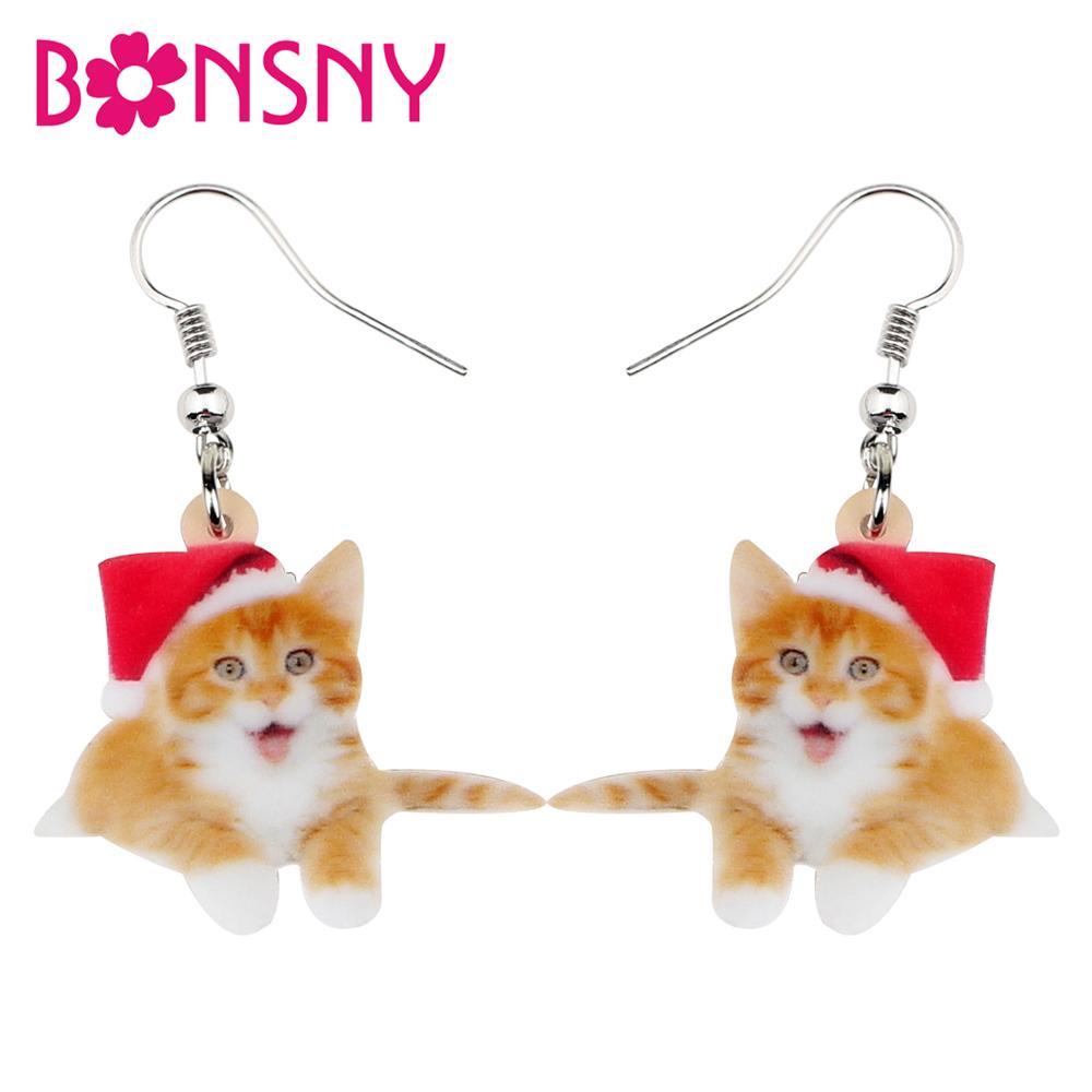 Bonsny acrílico Navidad dulce gato gatito pendientes gota colgante mascotas regalo mujeres chica adolescentes niños Festival encantos decoraciones
