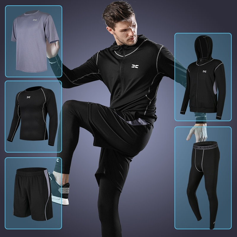 5 Pcs/Sets Men's Training Clothing Suits Cycling thermal Underwear Quick-drying Long Johns Suit Compression Clothes