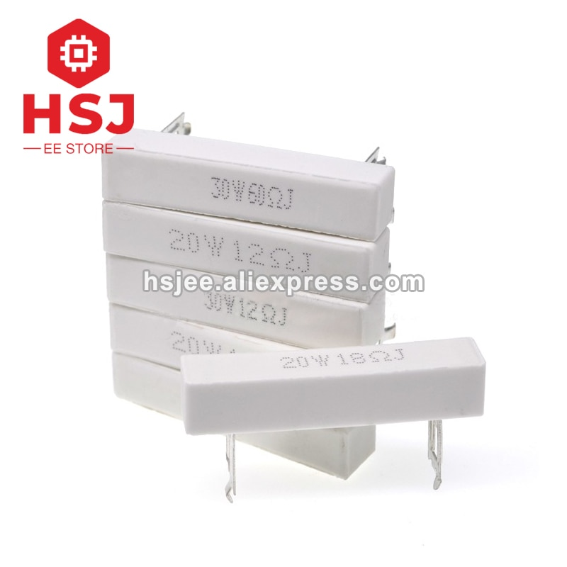 20W high power high-frequenz keramik zement widerstände soundboxes frequenz teiler 0,5 R 1R 3R 10R 12R 18R 20R 30R 60R 220R Ohm