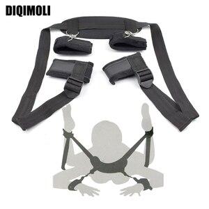 Erotic BDSM Bondage Adjustable Restraints Harness Training Slave Handcuffs Neck Ankle Cuffs Fetish Couples Flirting Sex Toys