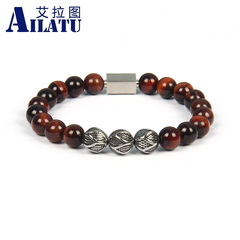 Ailatu, nuevo logotipo de acero inoxidable, cuentas naturales de ojo de tigre y lapislázuli, pulseras de energía, pulsera Masculina, joyería para hombres