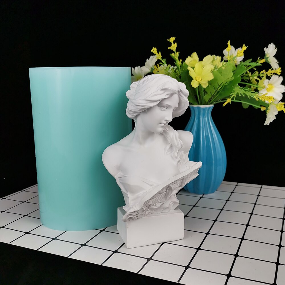 PRZY Soap Woman Mold Silicone Portrait of Woman with Piano Candle Moulds Large Size Plaster Statue Molds Clay Resin Moulds