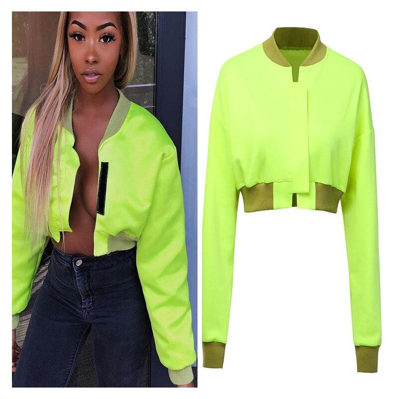 Goocheer neon amarillo velcro cinta bolero chaqueta 2019 Otoño Invierno mujer de manga larga crop top mujer casual streetwear ropa