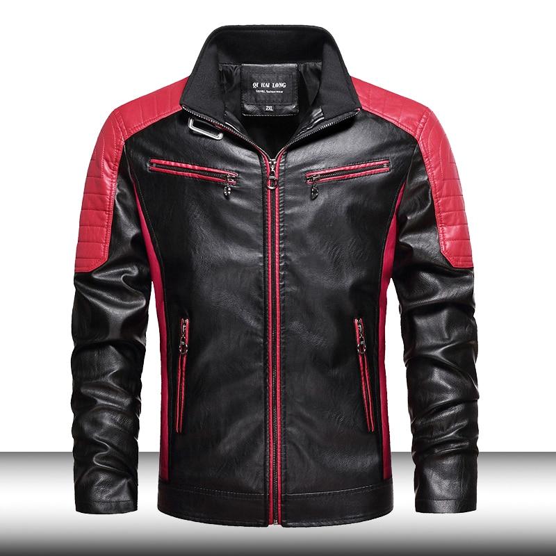 Мужская приталенная байкерская куртка в стиле ретро 2021, Мужская модная качественная кожаная куртка с воротником-стойкой, мужская куртка из ...