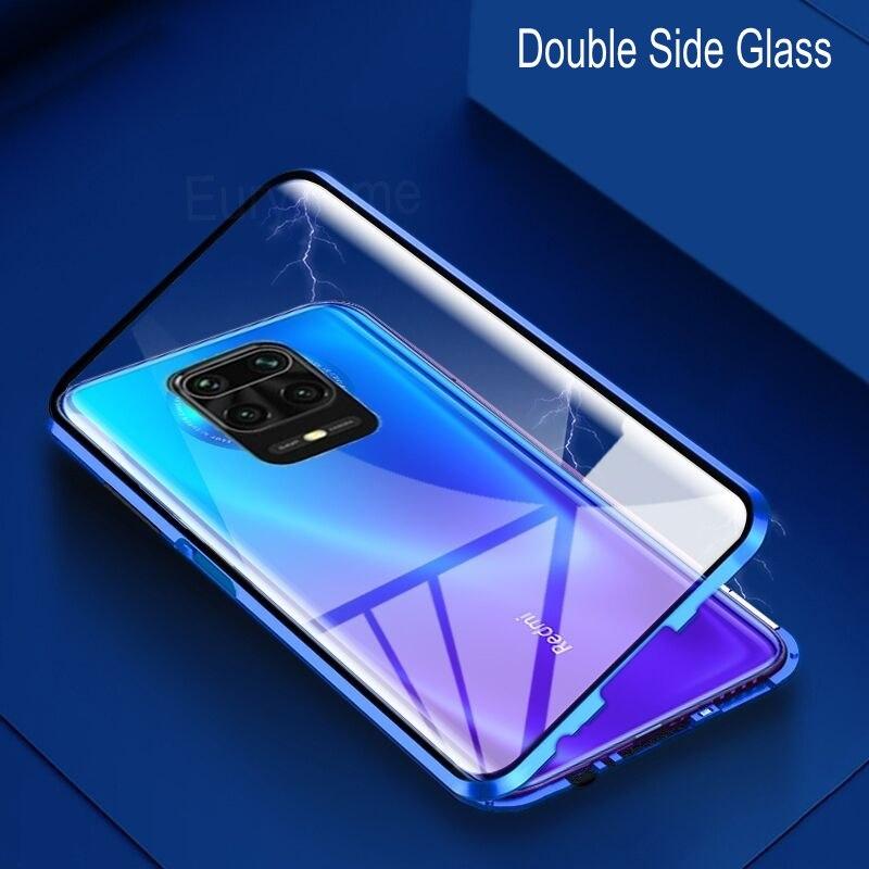 Voor Xiaomi Redmi Opmerking 9S 9 Pro Max Case Dubbelzijdig Glas 360 Volledige Bescherm Cover Magnetische Adsorptie Metalen frame Behuizing Poco X3