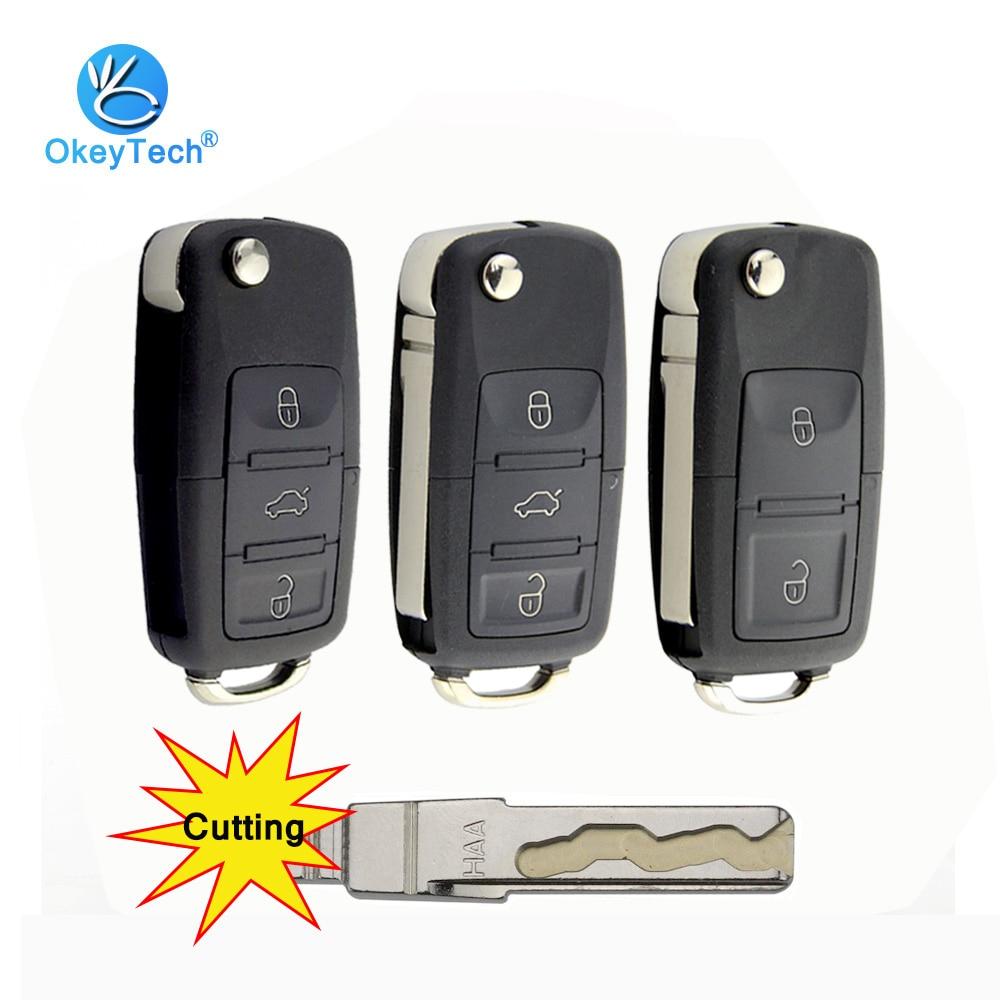 OkeyTech 2/3 przycisk pilot samochodowy składane klucze Case Fob dla V W Volkswagen Passat Polo Golf Touran Octavia ostrze tnące