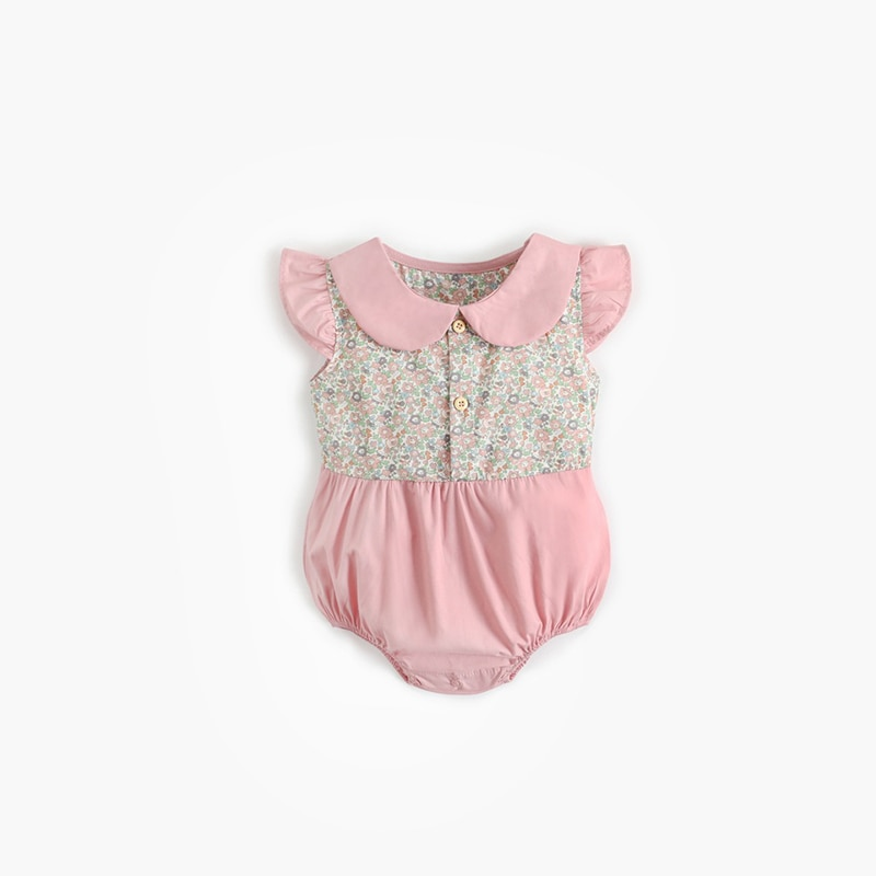 ATUENDO Summer Kawaii Pink Newborn Baby Rompers 100% Cotton Girl's Silk Clothes Jumpsuits Fashion Sa