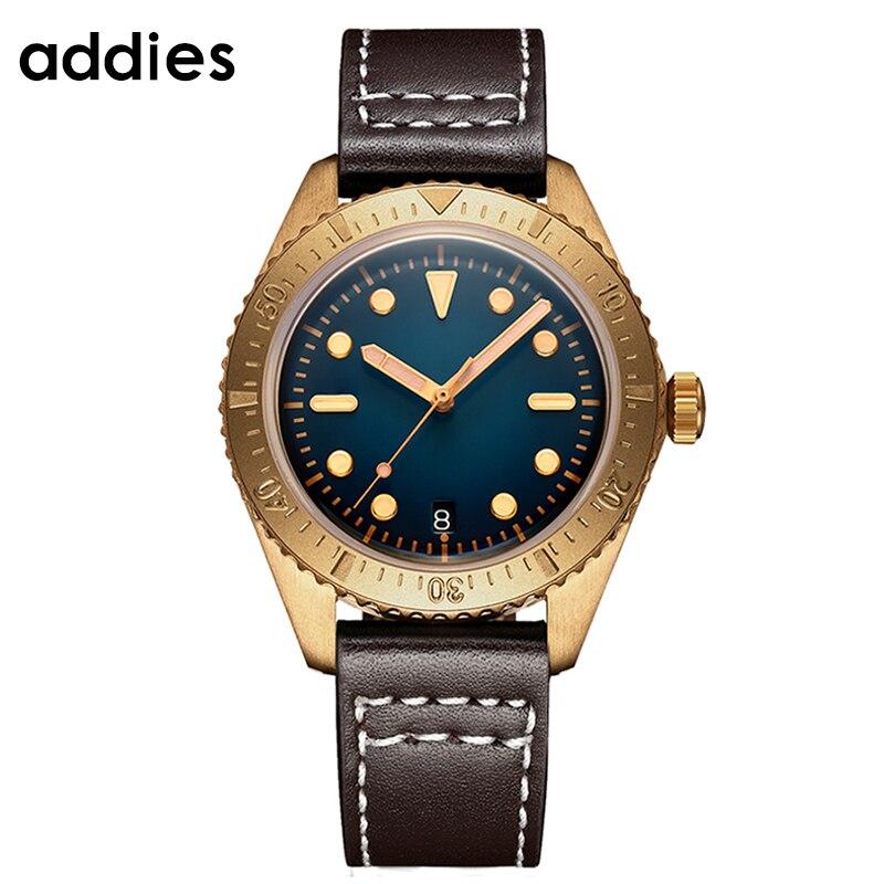 ¡Nuevo diseño de 2020! Lujosa carcasa de bronce para reloj de hombre, relojes mecánicos automáticos con movimiento japonés NH35, cristal de zafiro