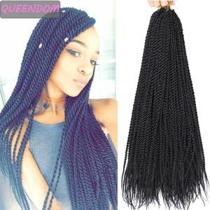 "Senegalese Twist Hair Crochet Braids Ombre Synthetic Braiding Hair 18 "" Brown Burgundy Blonde Handmade Crochet Hair Extensions"