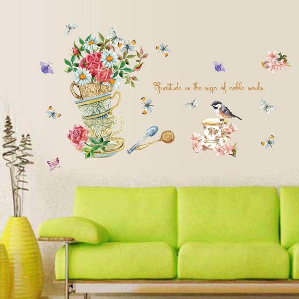 Pegatinas de planta de pared en maceta Para decoración de habitación de...