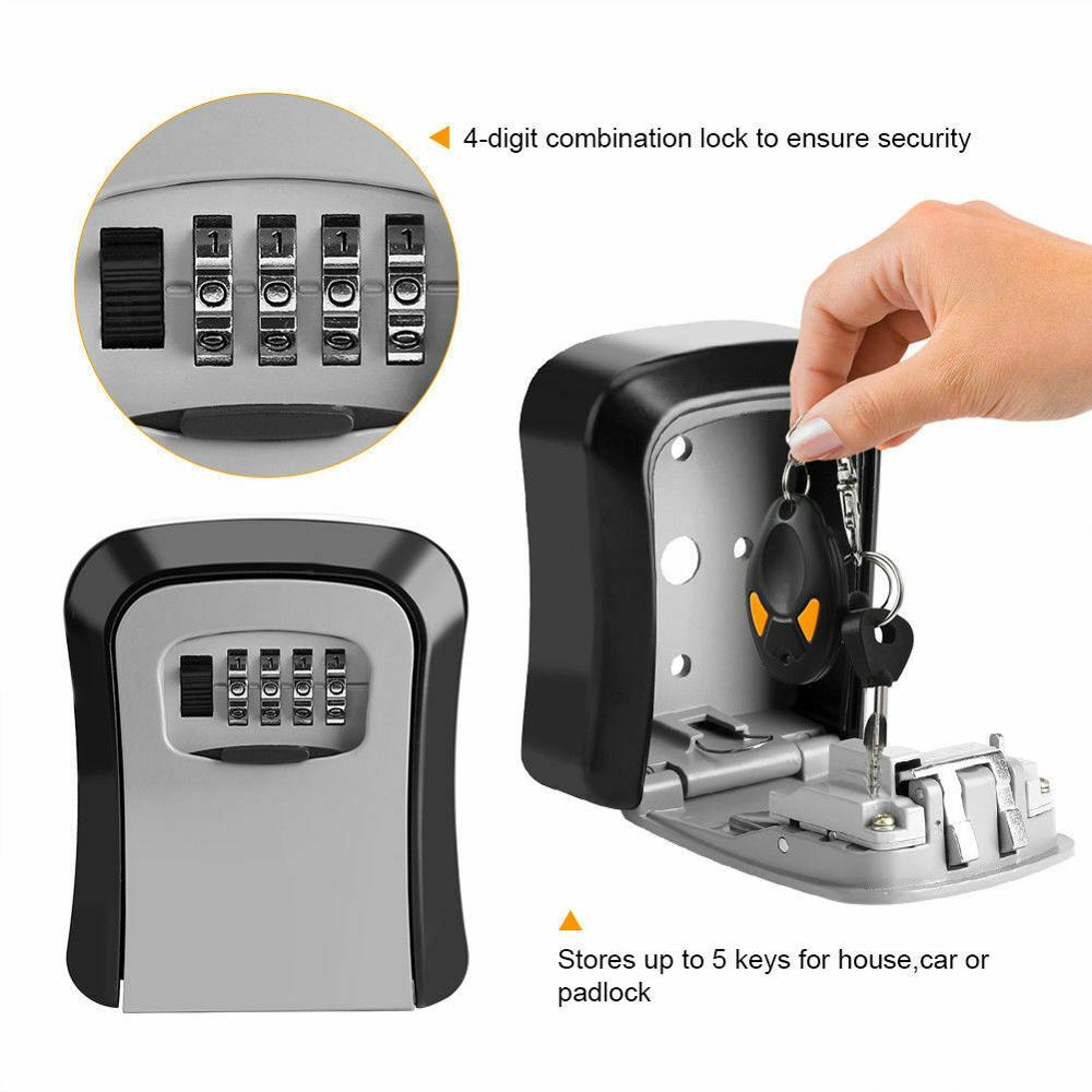 Mini 4 Digit Combination Key Lock Box Wall Mount Safe Security Storage Steel for Indoor and Outdoor