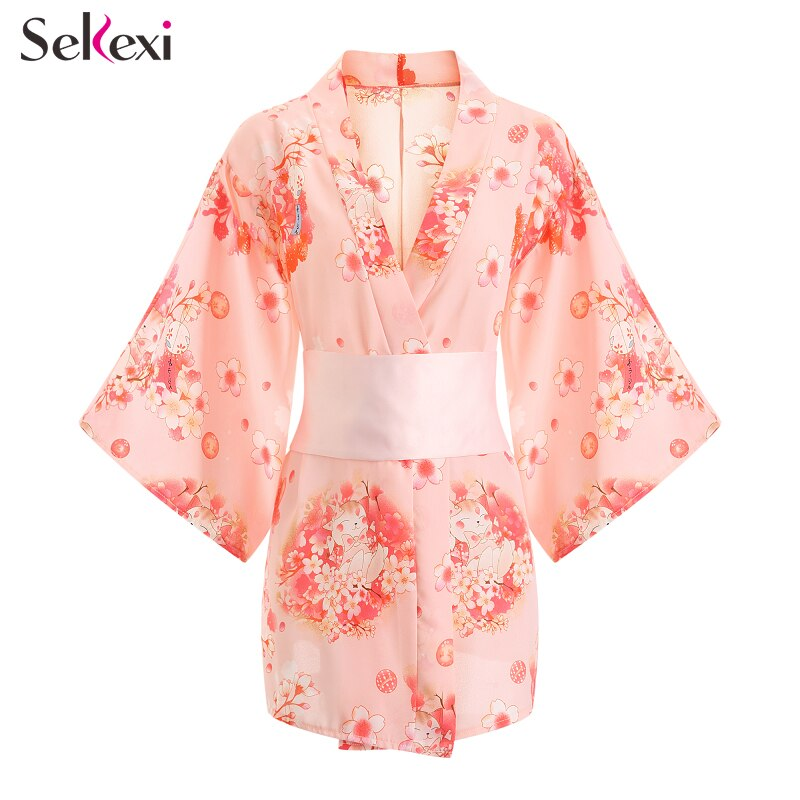 Frauen Sexy Dessous Set Japanischen Gedruckt Sakura Kimono Kleid Damen Erotische Kimono Robe Nachtwäsche Porno Kimono Cosplay Uniform