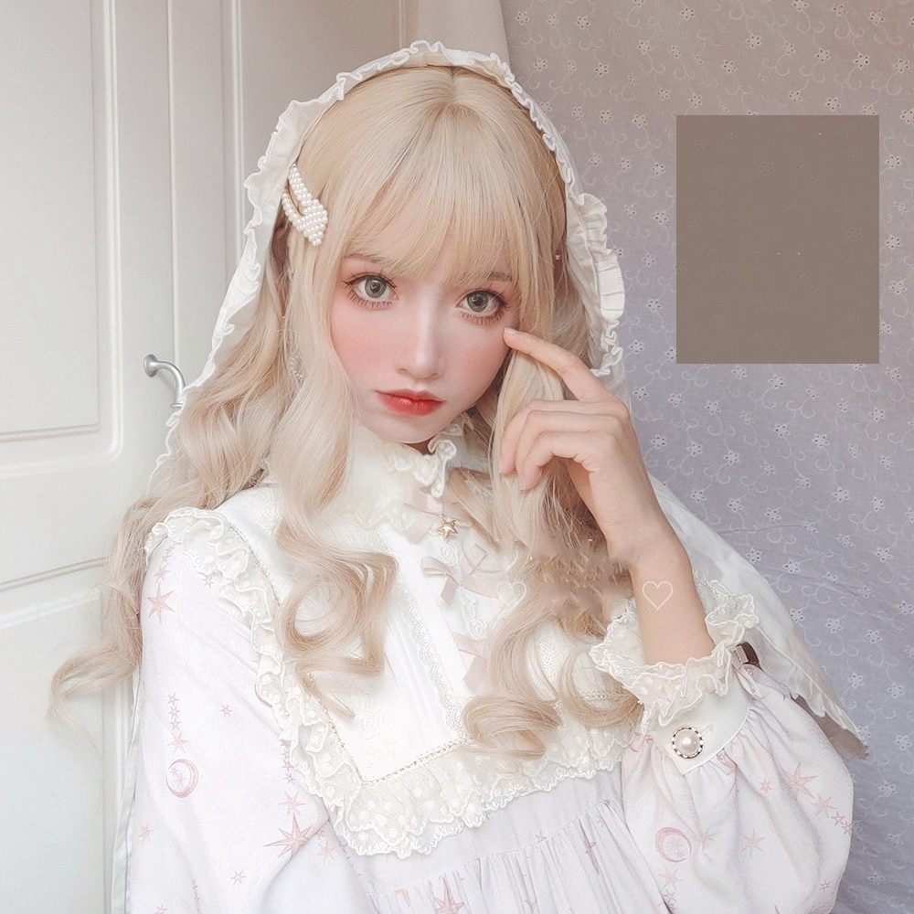 MANWEI Lolita Wigs With Bangs Maroon Blonde Long Wave For Women Noble Heat Resistant Synthetic Cosplay Wig