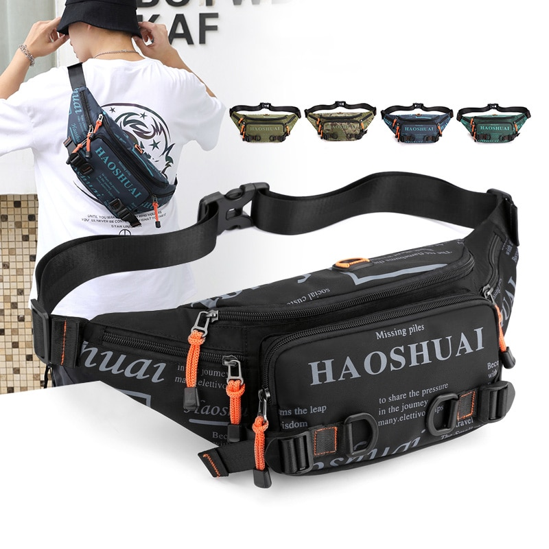 Fashion Letter Waist Bags For Men Casual Nylon Waist Packs Hot Sale Unisex Belt Bag Fanny Pack Trave