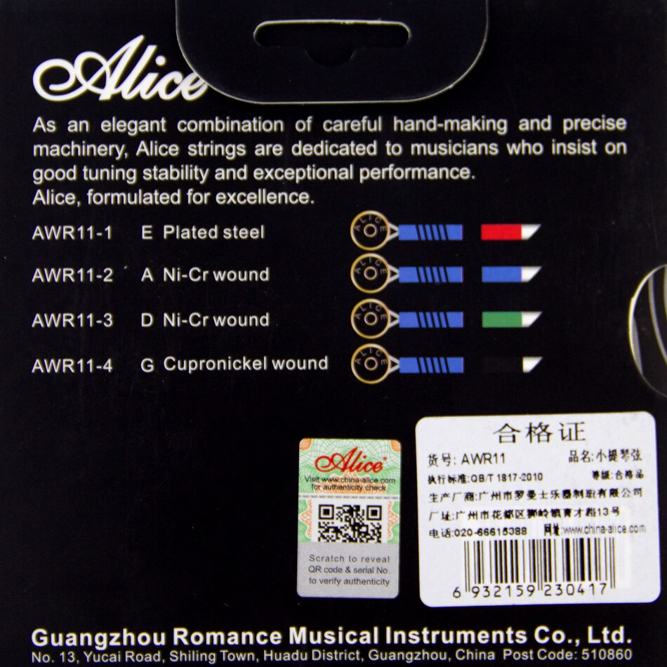 NEW  High quality Alice Violin Strings  AWR11 Rope Core Formulated for excellence 4/4 Meddium Tension set enlarge