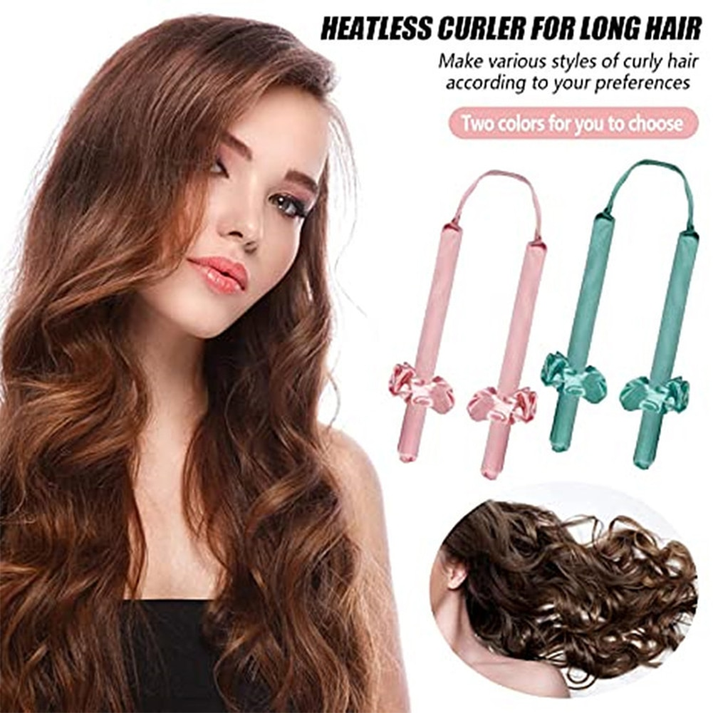 Heatless Hair Curlers for Long Hair No Heat Curling Rod Headband with Hair Ties and Clips Hair Styling Kit
