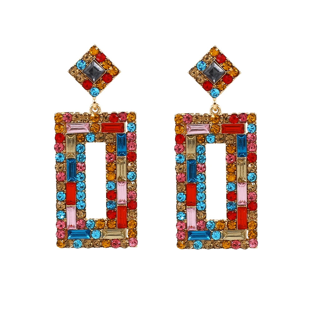 Moda elegante liga diamante conjunto brincos novo estilo geometria brincos de cristal feminino estilo ocidental orelha parafuso prisioneiro cross border fornecimento