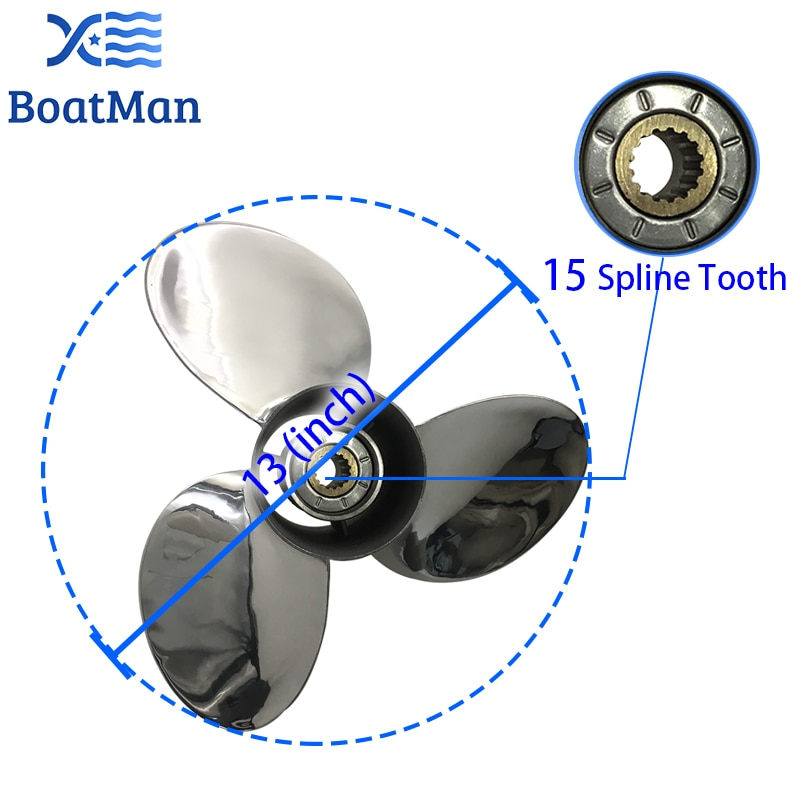Boat Propeller For Yamaha Outboard Motor 50-130HP 13x17 Stainless Steel 15 Tooth Spline Engine Part  688-45930-01-98 enlarge
