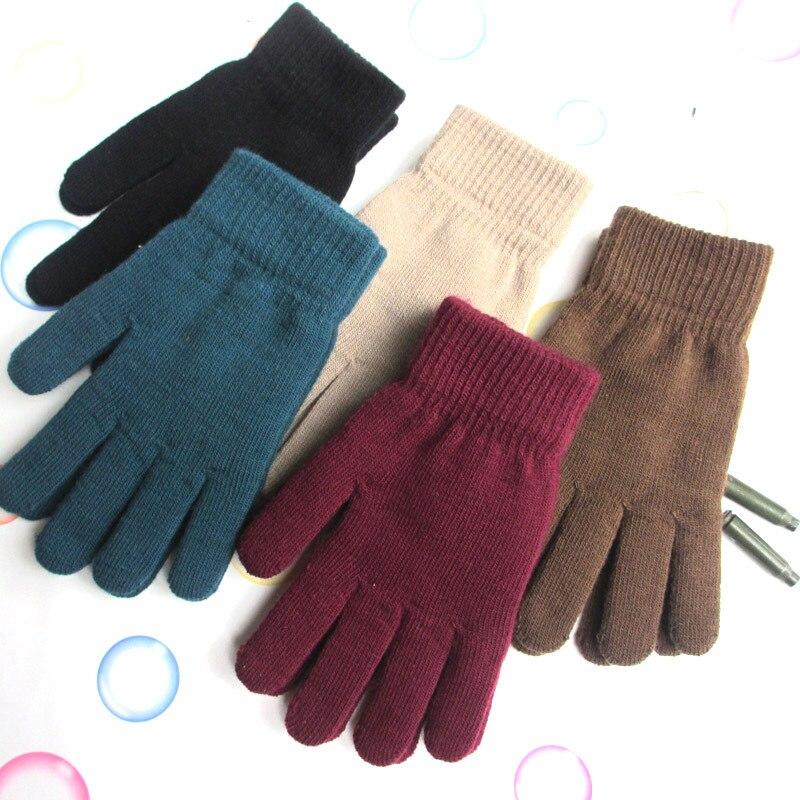 Новинка 2021, теплые перчатки, зимние плотные эластичные вязаные перчатки с пятью пальцами, мужские и женские мужские перчатки
