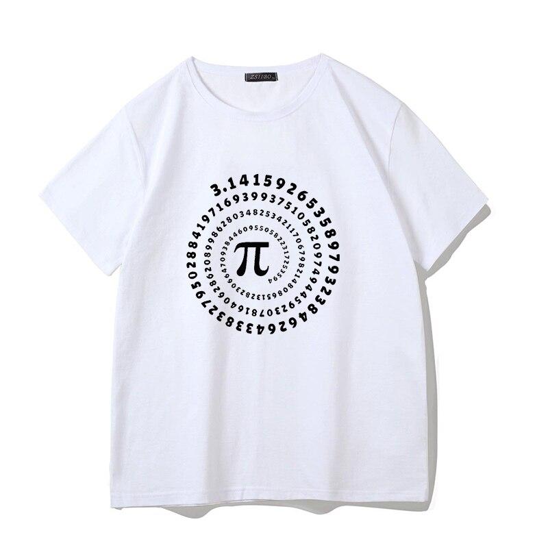 Harajuku Math Pi Formula T Shirt Men Summer Style Short Sleeve Male Tee Tops Funny Mathematical Text Print T Shirt S5MC54