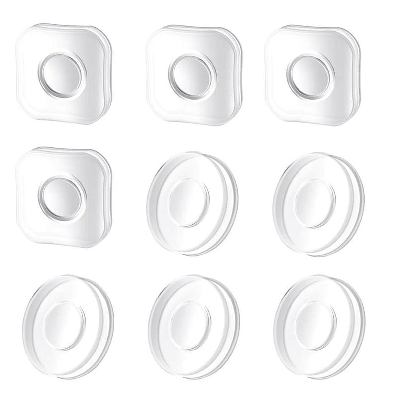 Nano almohadilla de Gel, Nano pegatinas mágicas sin rastro, almohadilla de Gel adhesiva de doble cara sin costuras lavable reutilizable (paquete de 9)
