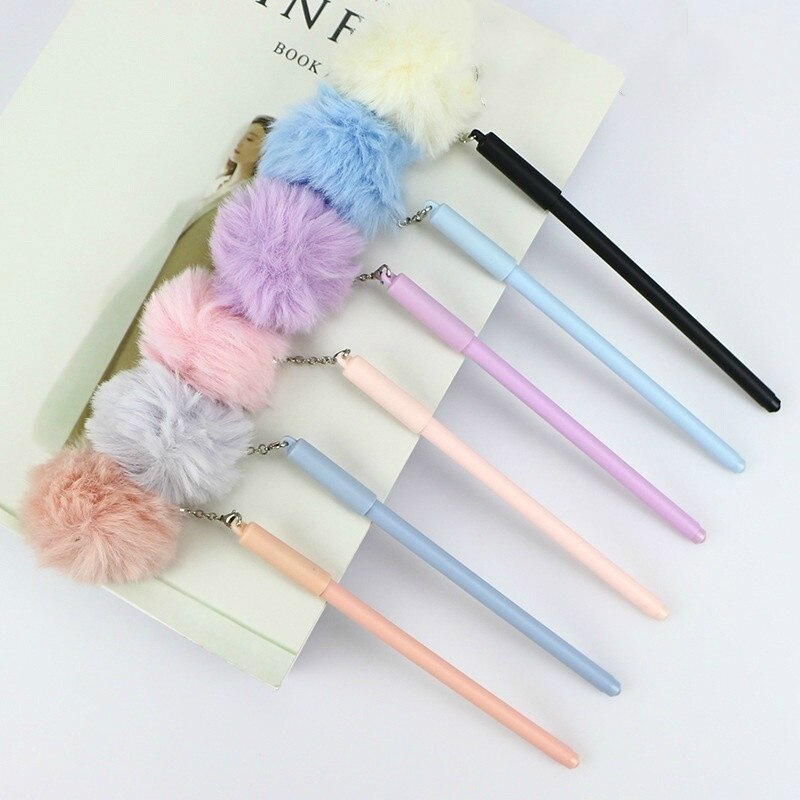 Bonitos abalorios de pompón de Corea de 0,5mm, bolígrafos de tinta para escribir, artículos de estudio para llevar a casa o fiesta de cumpleaños