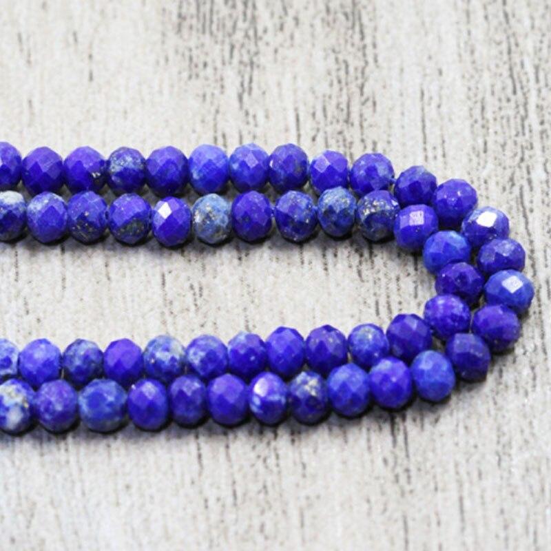 Alta qualidade natural pedra azul lapis lazuli contas redondas moda facetada lazurite para fazer design 2 4 6mm pulseira jóias diy