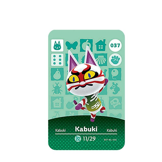 037 Kabuki Animal Crossing Card Animal Crossing Figures Switch NS 3DS Amiibo Cards Villager New Horizons Amiibo Card Gift#