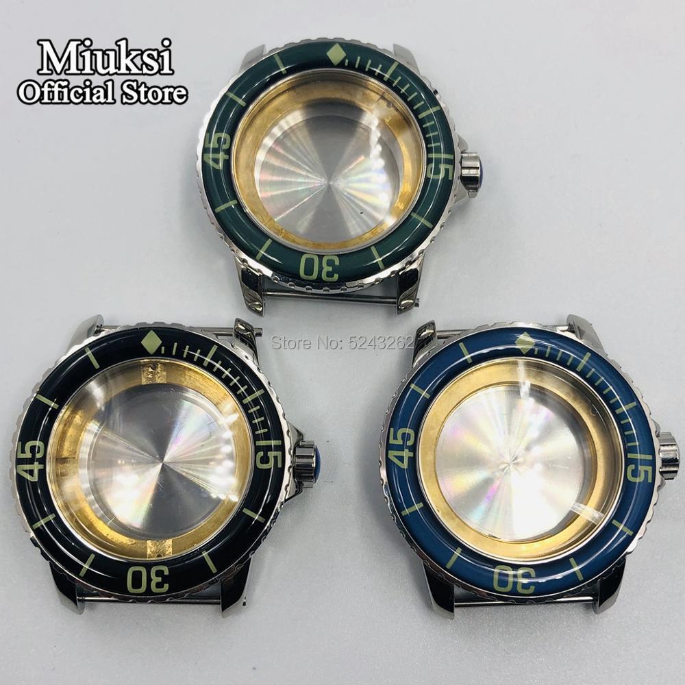 Miuksi 45mm case luminous ceramic bezel fit ETA 2836 NH35 36 Miyota 8205 8215 821A Mingzhu DG 2813 3804 seagull 1612 Movement