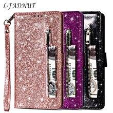 L-FADNUT lüks zarif Bling kapak iPhone X Xr Xs 11 Pro Max sevimli cüzdan Flip deri çanta iPhone 7 8 6S 6 artı 5 5S SE