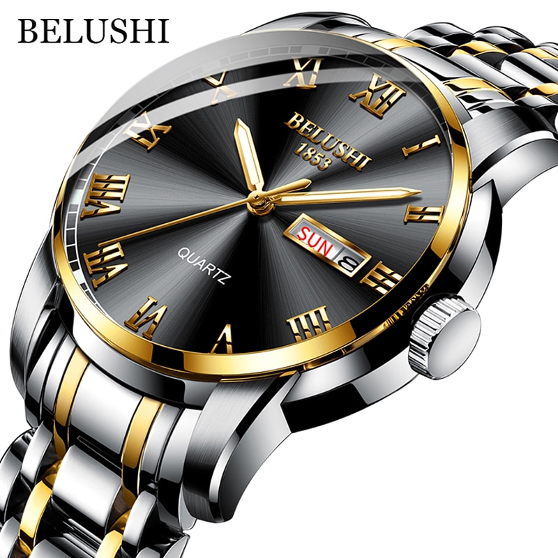BELUSHI Top Brand Watch Men Stainless Steel Business Date Clock Waterproof Luminous Watches Mens Luxury Sport Quartz Wrist Watch