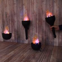 Desktop Electronic Flame Lamp Fake Fire Burning Torch Led Bonfire Decoration Halloween Handhold Hanging Party 4 In 1