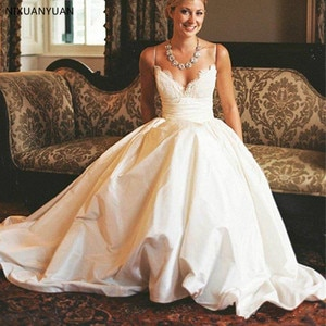 Exquisite Lace Ball Gown Wedding Dresses Robe De Mariee Spaghetti Strap Sweetheart Bridal Gowns Wedding Dress Vestido De Noiva