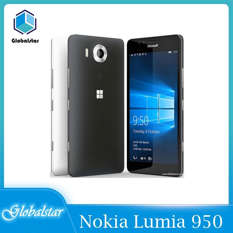 هاتف نوكيا لوميا 950 هاتف محمول أصلي من نوكيا لوميا 950 بسعة 3 جيجابايت + 32 جيجابايت بشريحتين/هاتف يعمل بنظام تشغيل ويندوز 4G LTE بدقة 20 ميجابكسل مزو...