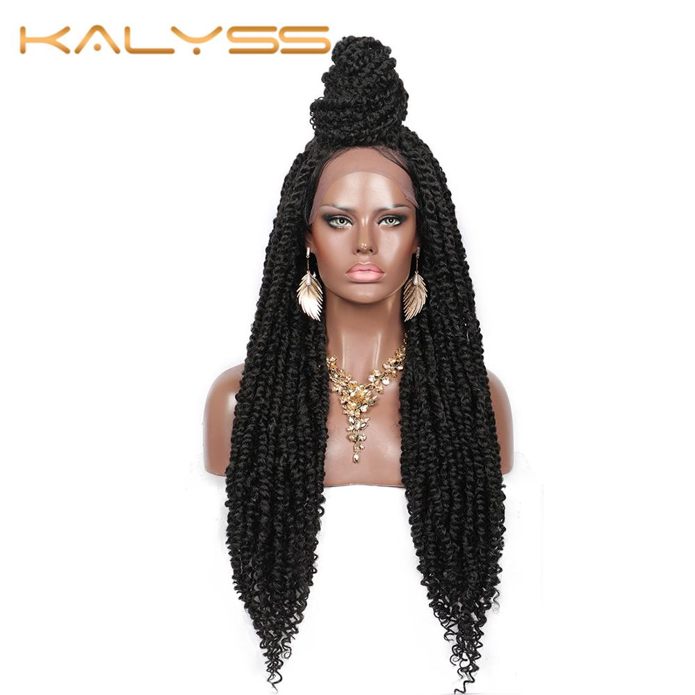 Kalyss 30 inches Braided Wigs with Baby Hair for Women Twist 4X4 Swiss Lace Braids Wigs with Water Wave Curls Ends DIY