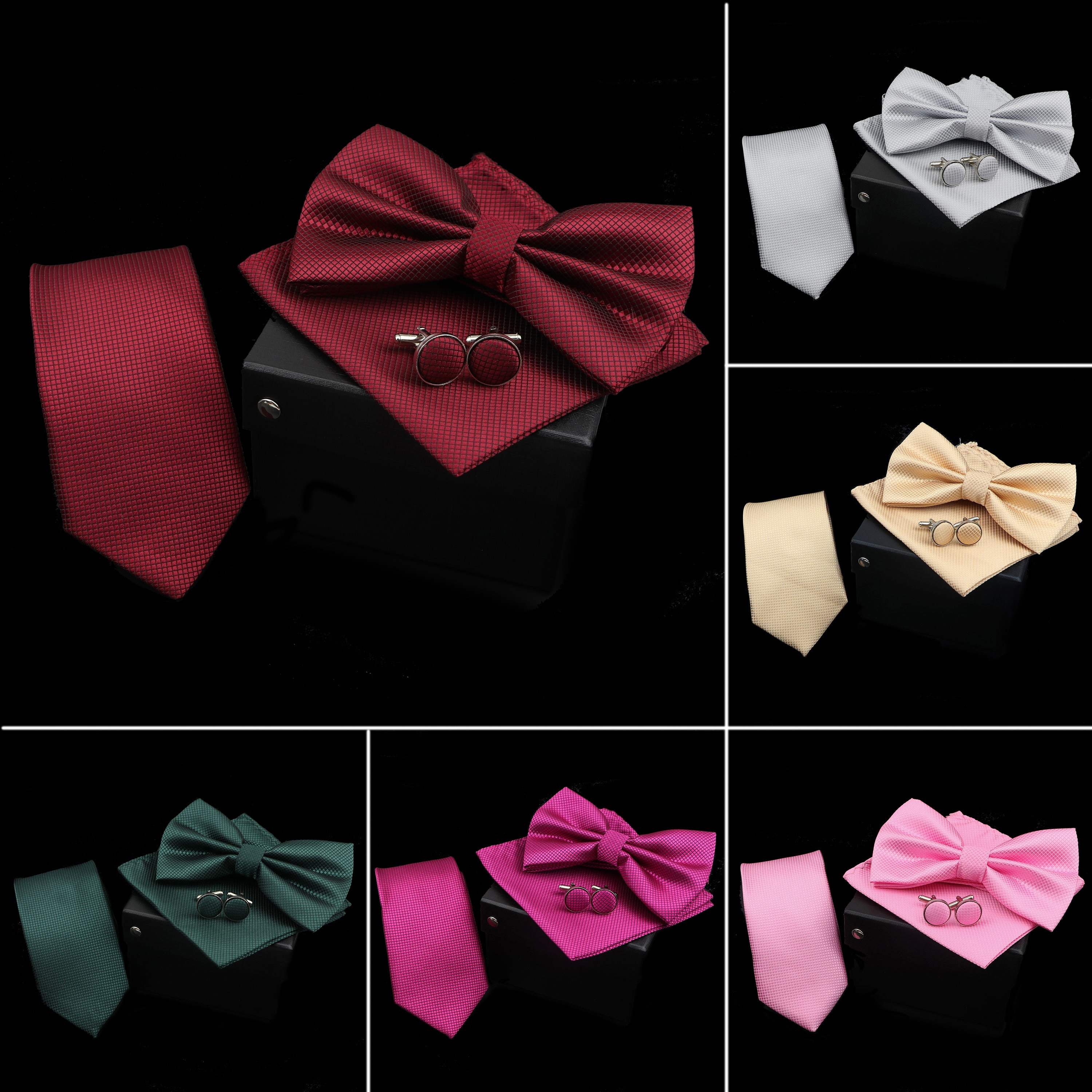 Solid Color Polyester Tie Bowtie Handkerchief Cufflinks Set Men Fashion Butterfly Wedding Necktie Without Box Novelty Ties Gift