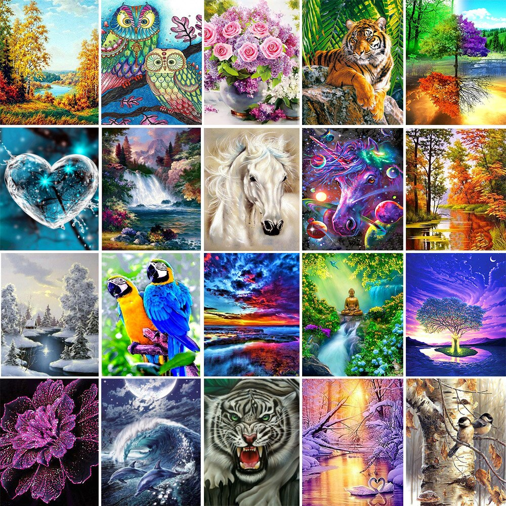 5D Diy Diamond Painting Cross Ctitch Kits Mosaic Embroidery Landscape animals 3d round drill  gift