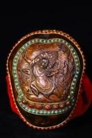 home decor 7tibet buddhism old silver inlay dzi bead gem skull head mahakala statue bowl kapala skull cup gabala bowl