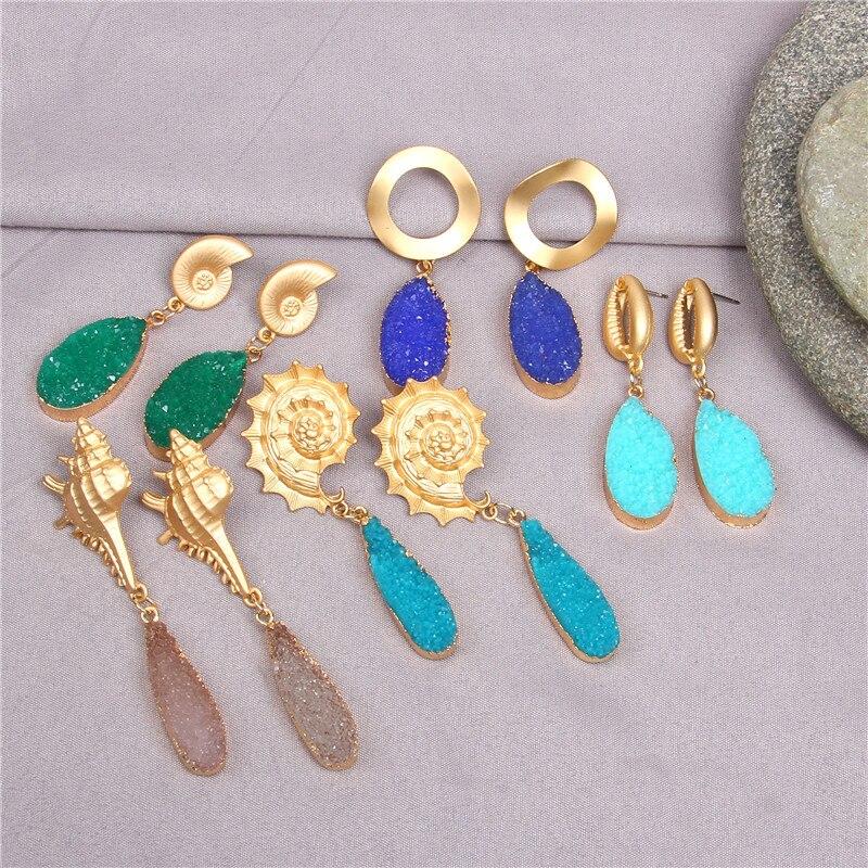 Druzy Crystal Earring For Women 2019 Gold Metal Circle Oval Natural Stone Long Drop Earrings Jewelry Brincos Earing Eardrop
