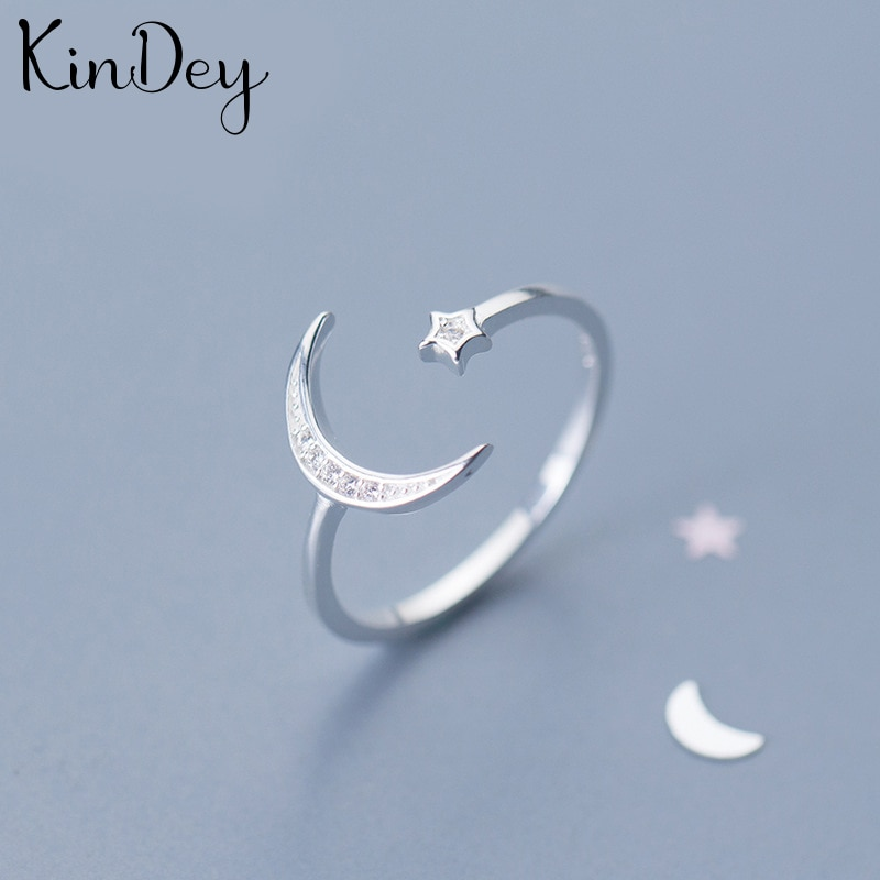Personality Boho Crystal Moon Star Rings For Women Charm Wedding Jewelry Adjustable Antique Finger Ring Anillos