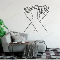 Main dans la main ligne dessiner Art autocollant mural pour la decoration de la maison salon mode decalcomanies Valentines amovible peintures murales Wallpoof CX1465