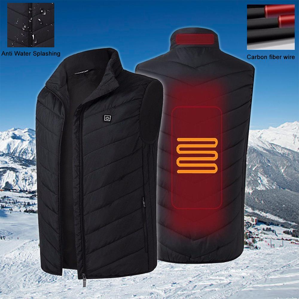 8 Areas Heated Vest Jacket USB Men Winter Electrical Sleevless Outdoor Fishing Hunting Waistcoat Hiking Ship